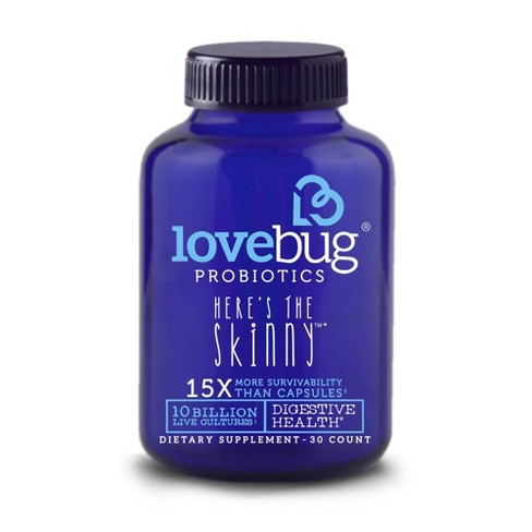 LoveBug Probiotics Here's The Skinny Digestive Health Dietary Supplement Capsules - 30ct - image 1 of 3
