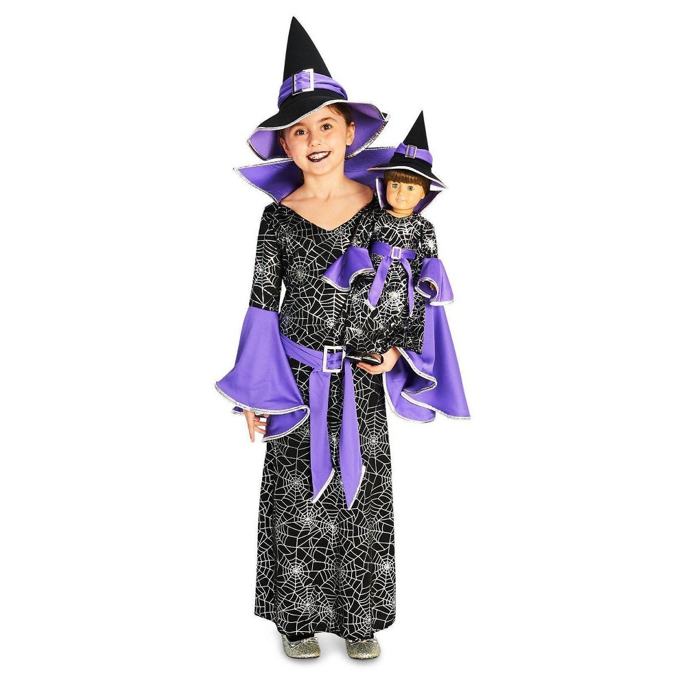 Girls' Spider Web Silver Printed Witch Costume with Matching 18 Doll Costume M, Multi-Colored