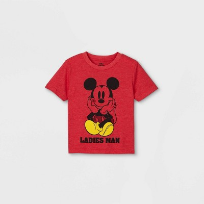 Toddler Boys' Mickey Mouse 'Ladies Man' Valentine's Day Short Sleeve Graphic T-Shirt - Red