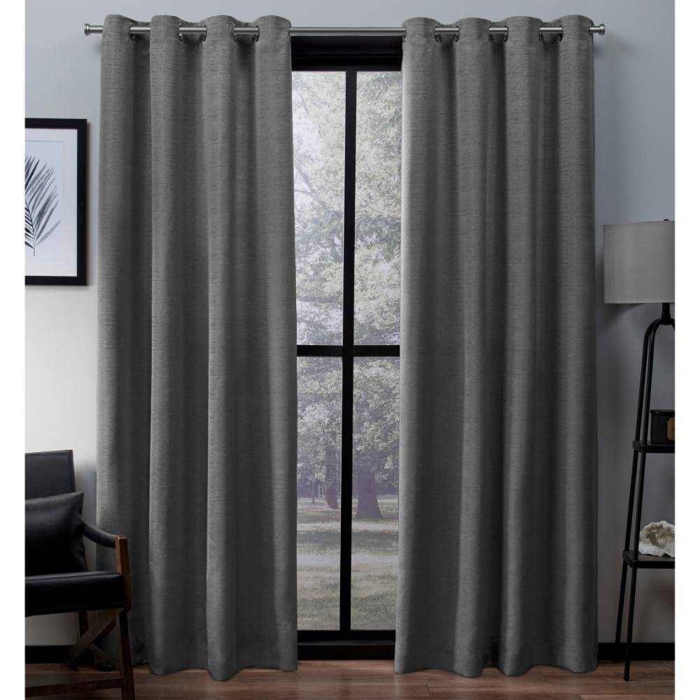 Virenze Faux Silk Grommet Top Window Curtain Panel Pair Silver Cloud 54x63 - Exclusive Home