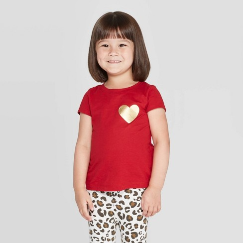Toddler Girls' Short Sleeve 'Heart' T-Shirt - Cat & Jack™ Red - image 1 of 3