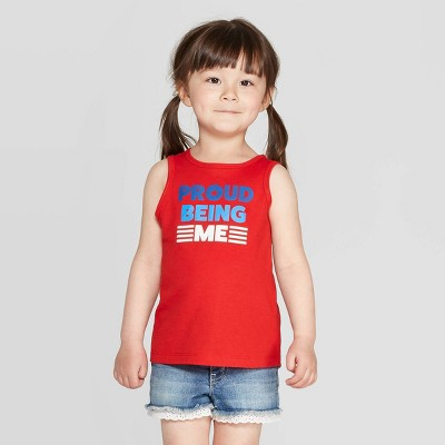 Toddler Girls' 'Proud Being Me' Graphic Tank Top - Cat & Jack™ Red 5T