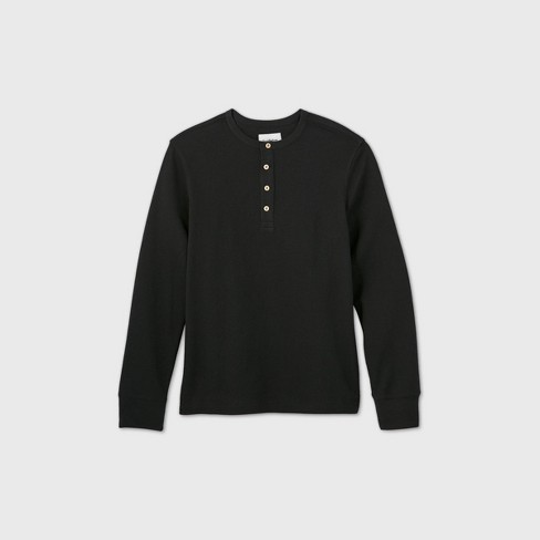Men's Standard Fit Textured Long Sleeve Henley T-Shirt - Goodfellow & Co™ - image 1 of 2
