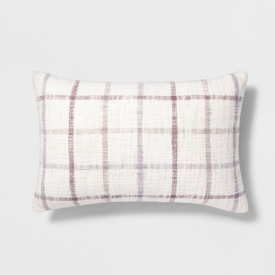 Plaid Lumbar Throw Pillow Cream - Threshold™