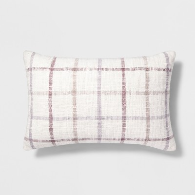 view Plaid Lumbar Throw Pillow Cream - Threshold on target.com. Opens in a new tab.