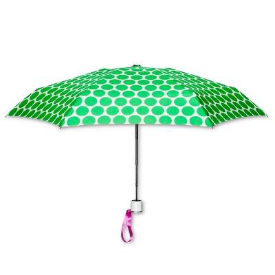 ShedRain Manual Compact Umbrella - Green Polka Dot