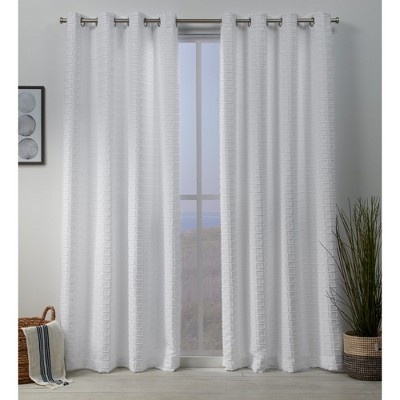 Squared Embellished Grommet Top Curtain Panel Pair -Exclusive Home