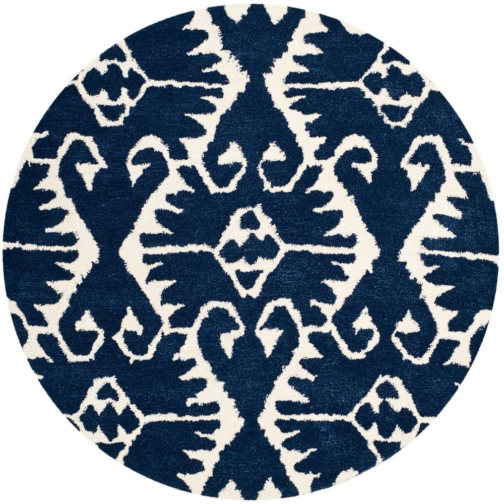 5' Tribal Design Tufted Round Area Rug Royal Blue/Ivory - Safavieh