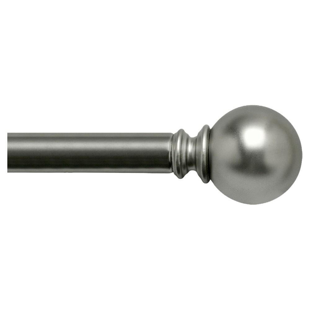 "Image of ""Bali 1"""" Ball Decorative Curtain Rod - Satin Nickel (36-66""""), Satin Nickle"""