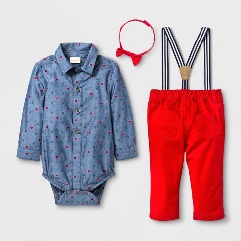 92571a0c8 Baby Boys' 4pc Button-Down Collared Long Sleeve Bodysuit, Pants, Suspenders  And Bow Tie Set - Cat & Jack™ Red/Blue 18M : Target