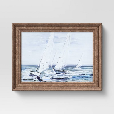 "12"" x 16"" Painted Sailboat Framed Wall Canvas - Threshold™"