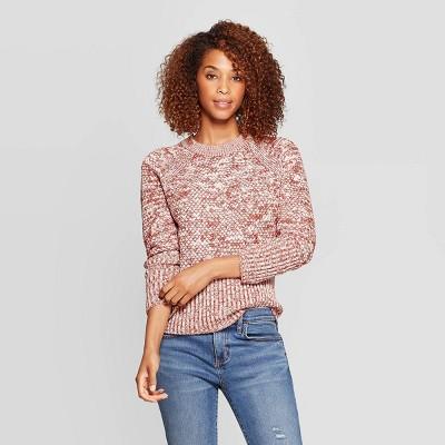 Women's Crewneck Raglan Pullover Sweater - Universal Thread™ Orange M