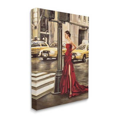 Stupell Industries City Taxi Crosswalk Glam Fashion Red Gown