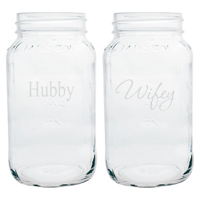 2ct  Hubby & Wifey  Wedding Mason Jars