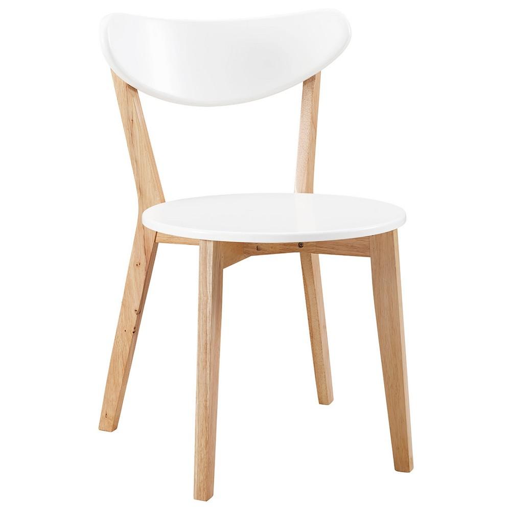 Retro Modern Wood Kitchen Dining Chairs - Set of 2 - Saracina Home, White