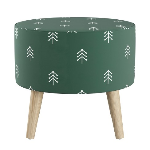 Pleasant Round Ottoman With Splayed Legs Line Tree Evergreen Beatyapartments Chair Design Images Beatyapartmentscom