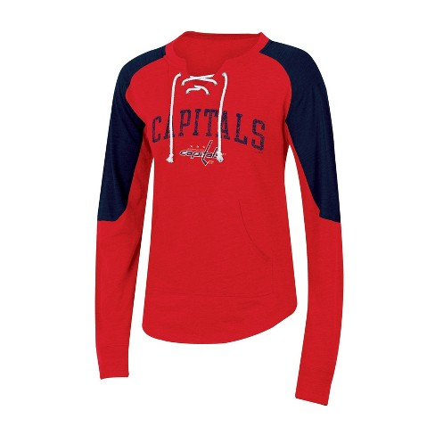 new products 72ca2 89006 Washington Capitals Women's Lace-Up Pullover Sweatshirt L