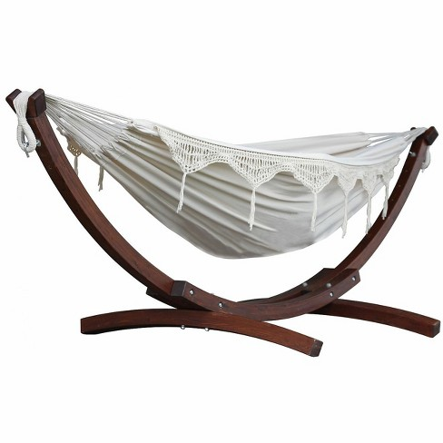 Vivere 8ft Double Cotton Hammock with Solid Pine Arc Stand - image 1 of 4