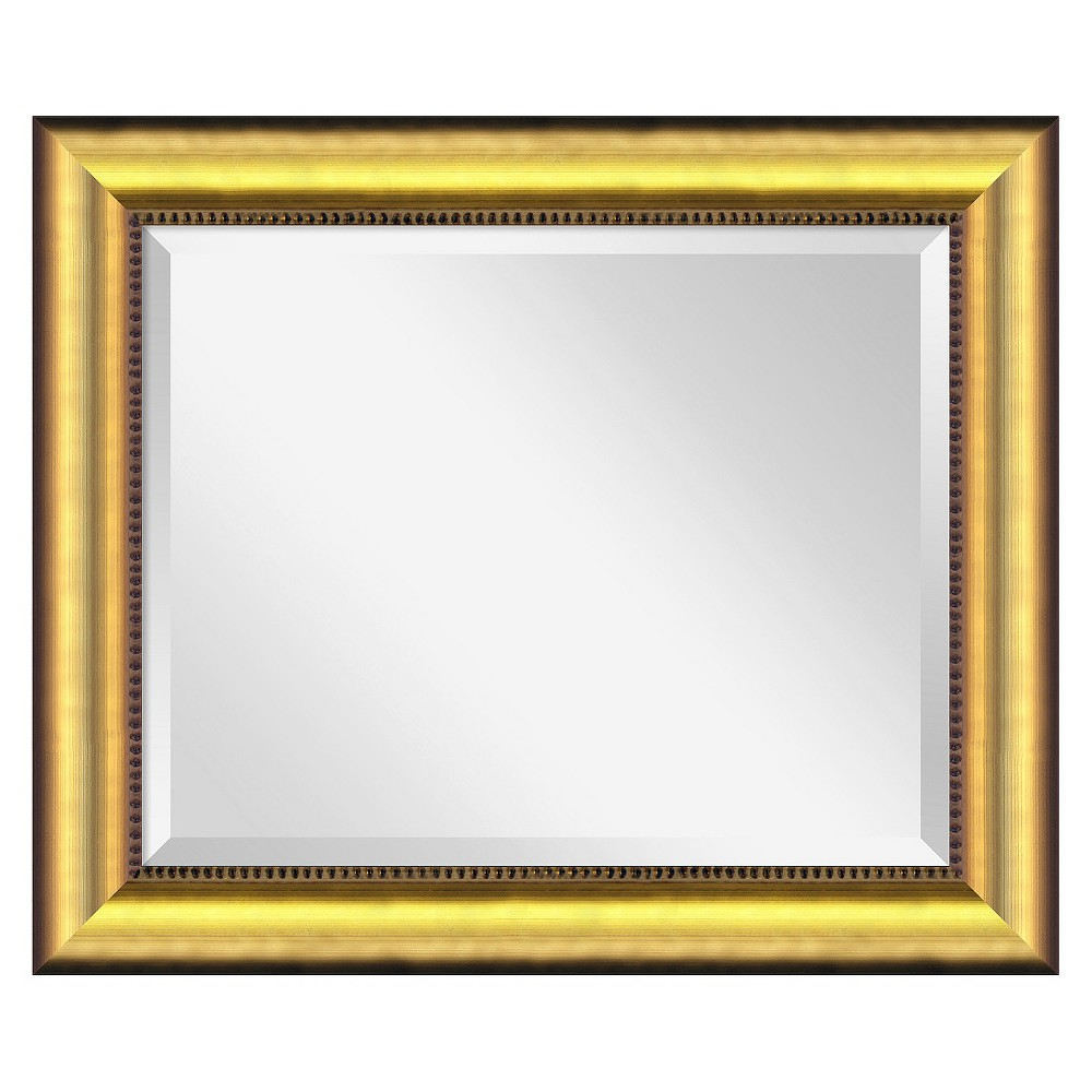 Rectangle Vegas Burnished Decorative Wall Mirror Gold - Amanti Art, Golden Mist