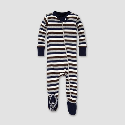 Burt's Bees Baby® Boys' Organic Cotton Multi Stripe Sleeper - Midnight 6-9M