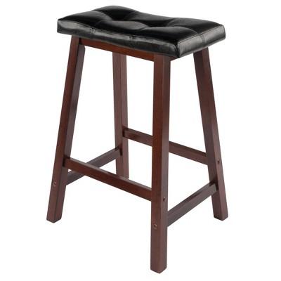 """Mona Cushion Saddle Seat 24.84"""" Counter Height Barstool Hardwood/Toasted Walnut - Winsome"""