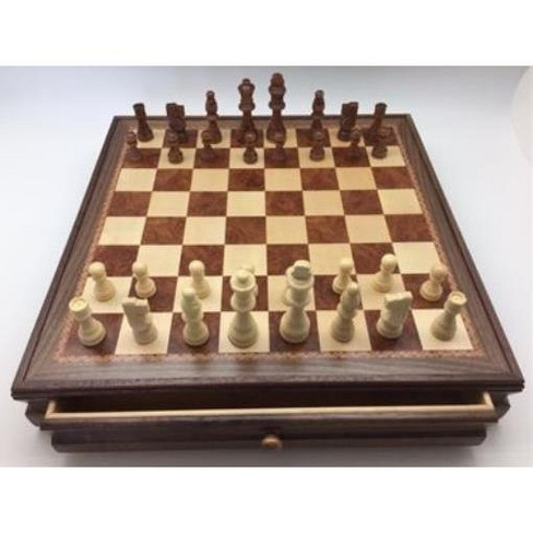 """17.5"""" Wood Inlaid Chest & Chessmen Board Game - image 1 of 2"""