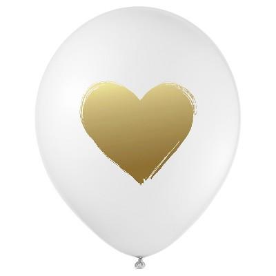 12ct Heart Shaped Designer Balloons Gold