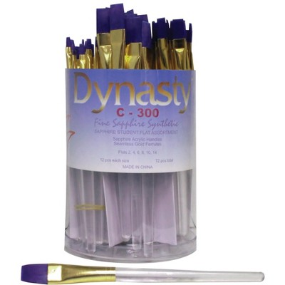 Dynasty C-300 Sapphire Flat Fine Synthetic Fiber Short Acrylic Handle Paint Brush Assortment, Assorted Size, Clear, pk of 72