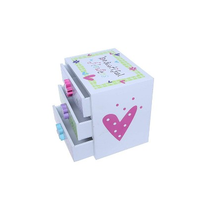 Juvale Kids Jewelry Box - Colorful Flower Compartment Drawer - Small Square Accessories Box - 6L x 4.5W x 6H
