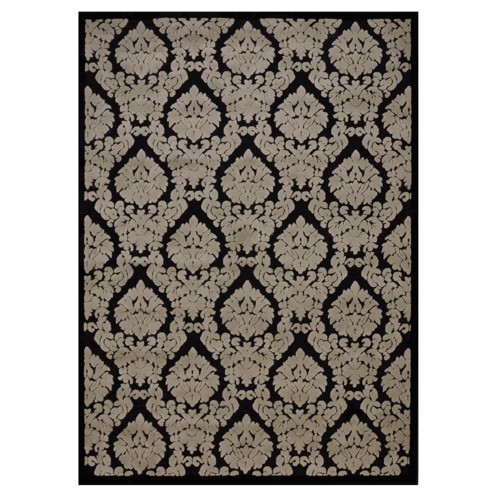 "Image of ""Nourison Damask Ultima Accent Rug - Black/Gray (2'2""""X3'9"""")"""
