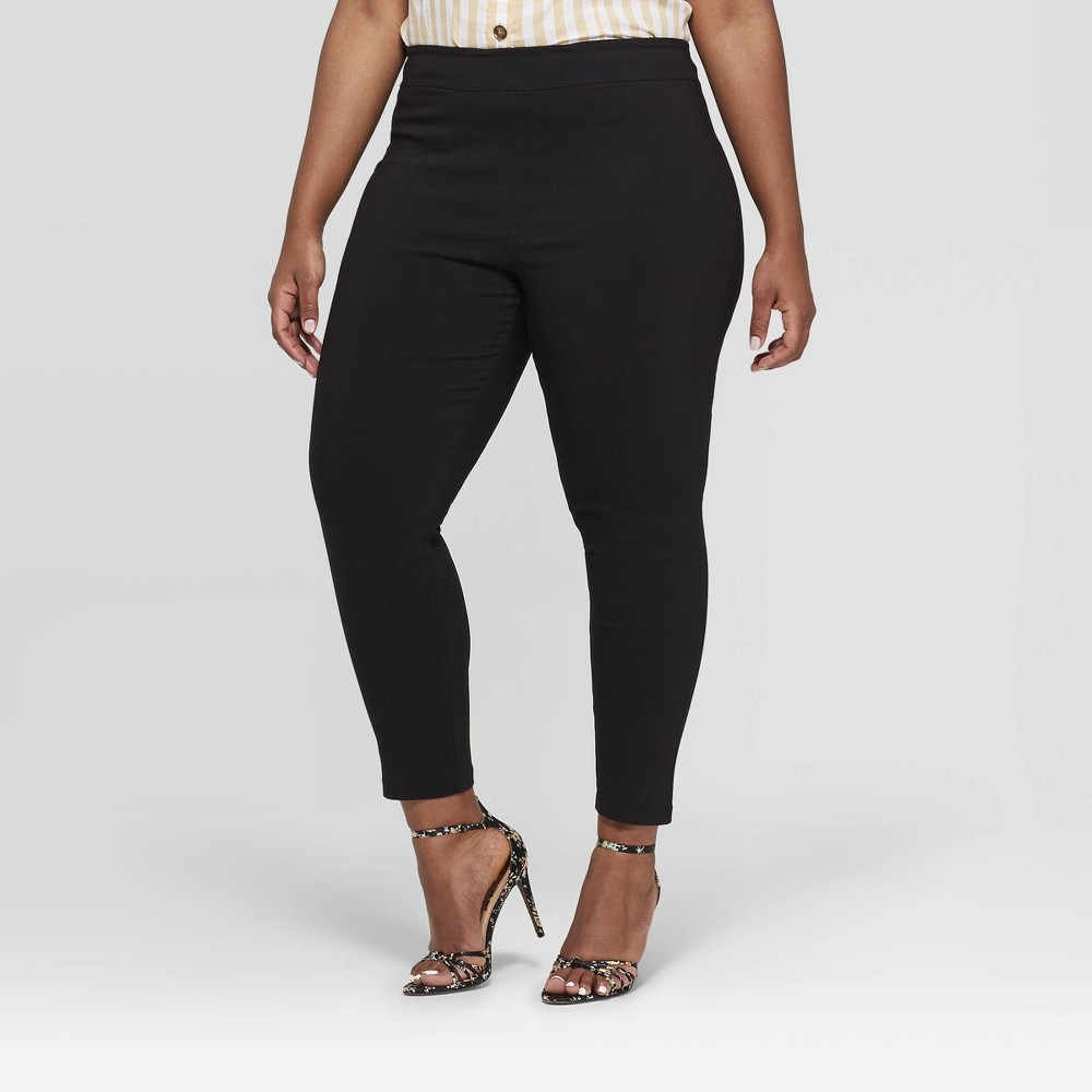 Women's Plus Size Skinny Ankle Pants - Who What Wear Black 16W