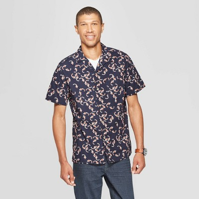 Men's Slim Fit Printed Short Sleeve Button-Down Shirt - Goodfellow & Co™ Federal Blue M