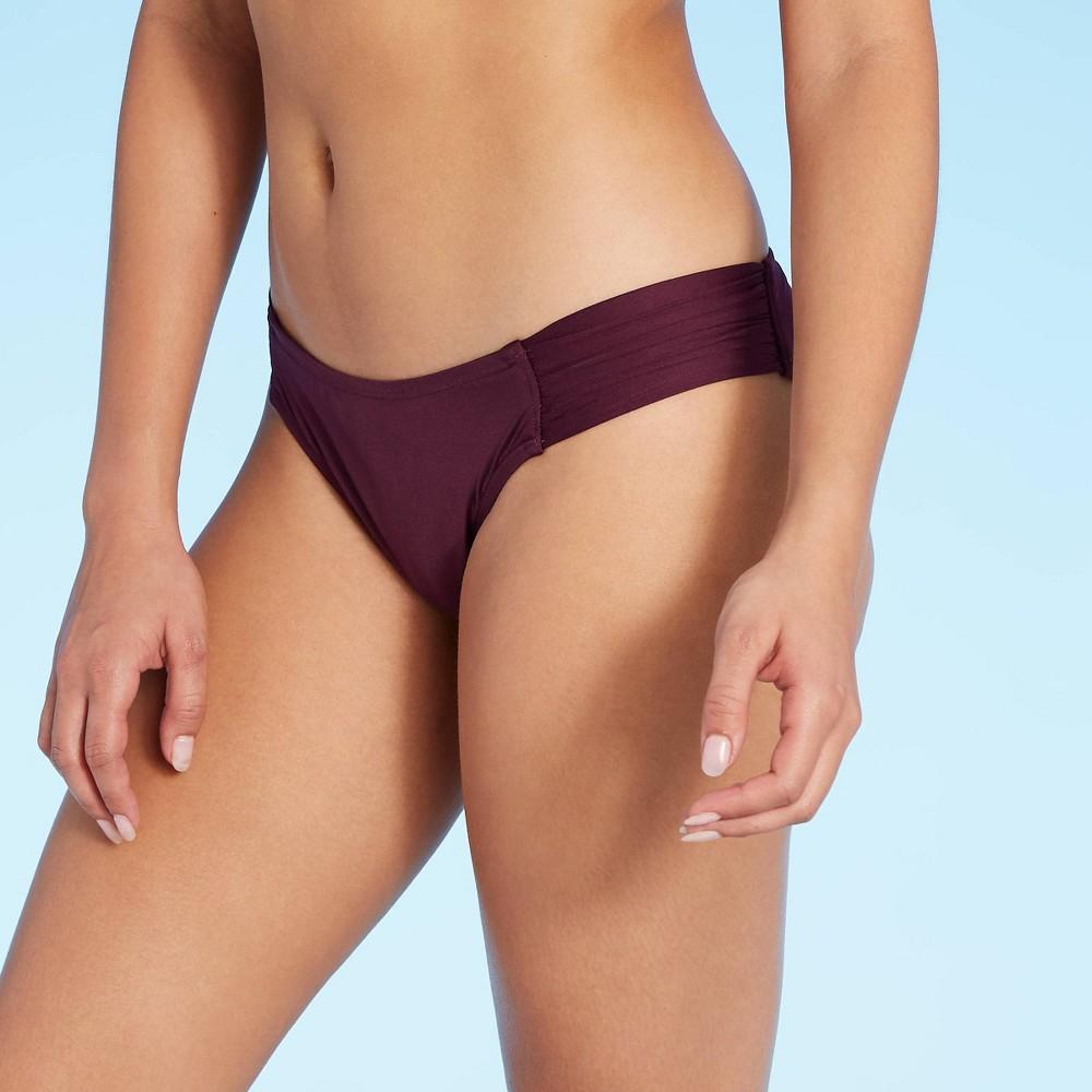 Women S Medium Coverage Tab Side Hipster Bikini Bottom Kona Sol 8482 Royal Burgundy L