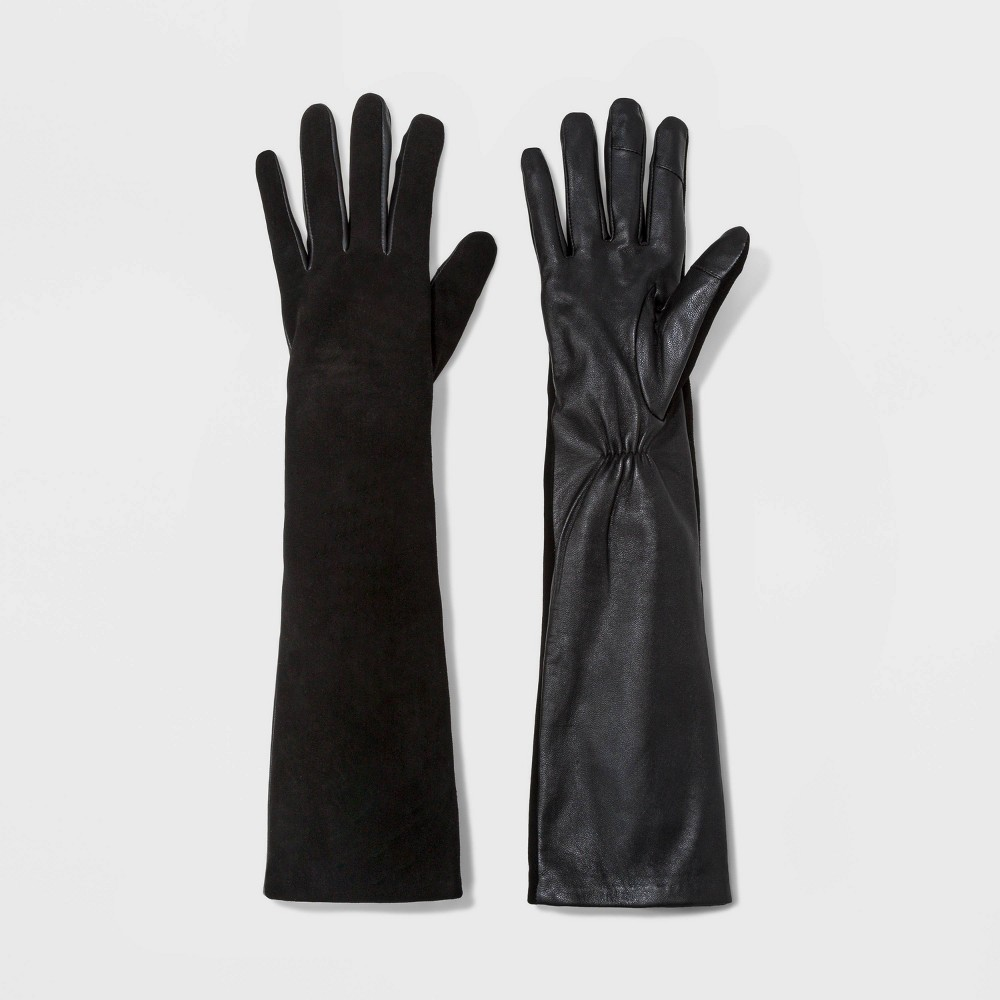 Vintage Style Gloves- Long, Wrist, Evening, Day, Leather, Lace Womens Fashion Mixed Long Leather Tech Touch Gloves - A New Day Black XSS Size XSSmall $34.99 AT vintagedancer.com