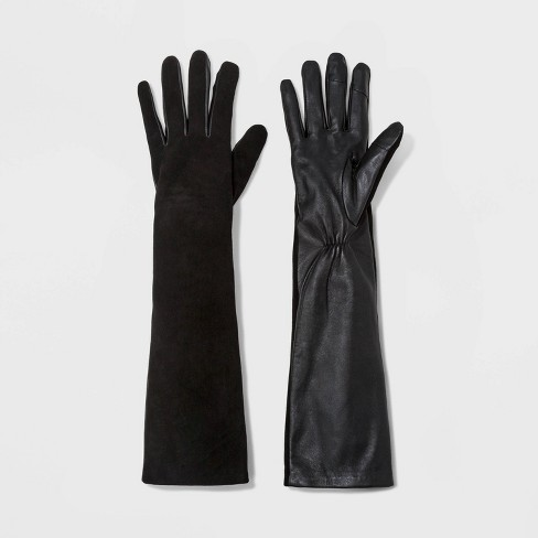 Women's Fashion Mixed Long Leather Tech Touch Gloves - A New Day™ Black XS/S - image 1 of 1