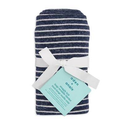 Aden + Anais Snuggle Knit Swaddle Blanket Navy Stripe