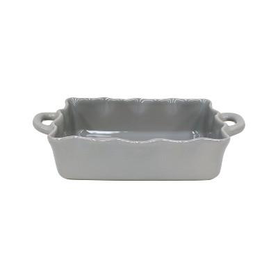 Casafina Gray Stoneware 13.5x8.5 Inch Medium Rectangular Ruffled Baker