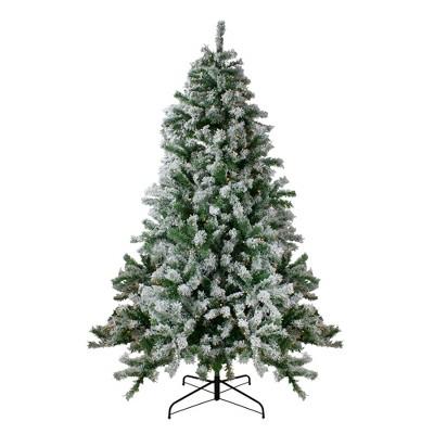 Northlight 7.5' Pre-Lit Flocked Winter Park Fir Artificial Christmas Tree - Clear Lights