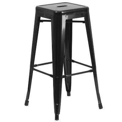 """Flash Furniture Commercial Grade 30"""" High Backless Metal Indoor-Outdoor Barstool with Square Seat"""