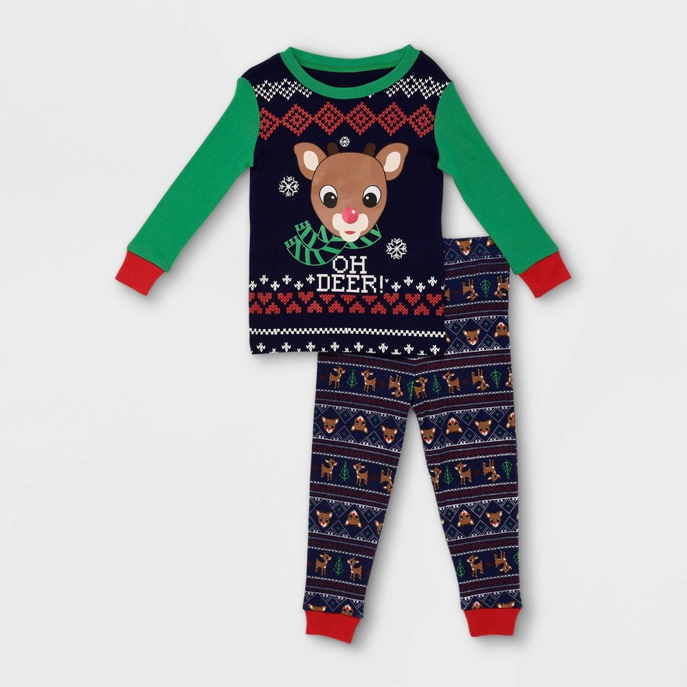 Image of Baby Boys' 2pc Rudolph the Red-Nosed Reindeer 'Oh Deer' Pajama Set - Navy 12M, Boy's, Blue/Red