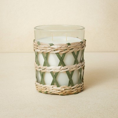 16oz Glass 2-Wick with Woven Wrap Green Candle - Opalhouse™ designed with Jungalow™