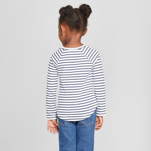 401144f1e Toddler Girls  Striped Hearts Long Sleeve T-Shirt - Cat   Jack™ Cream Navy