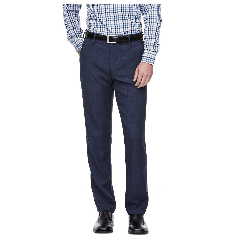 Haggar H26 - Men's Tall Straight Fit Performance Pants Blue Heather 34x36, Heather Blue