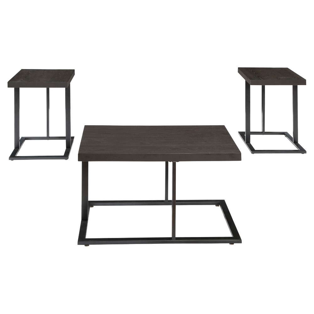 Airdon Occasional Table Set Bronze Finish - Set of 3 - Signature Design by Ashley, Brown Shimmer