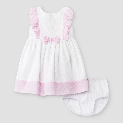 Mia & Mimi Baby Girls' Eyelet Trim Dress - White/Pink 0-3M