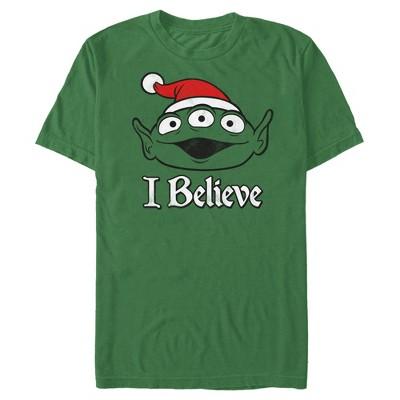 Men's Toy Story Christmas Alien Believe T-Shirt