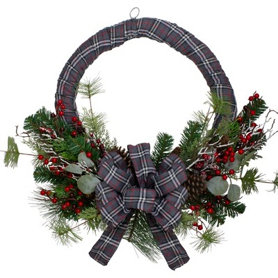 Northlight Gray and Red Plaid Artificial Christmas Wreath with Red Berries - 24-Inch, Unlit