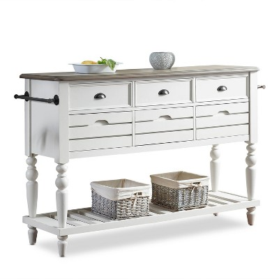 Giles 6 Drawer Sideboard Ivory/Brown - Steve Silver Co.