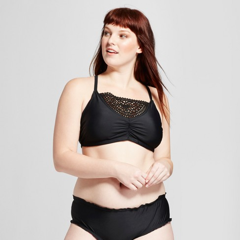 064c2cd58a8 Women s Crochet Detail Bralette Bikini Top - Xhilaration™ Black 20W ...