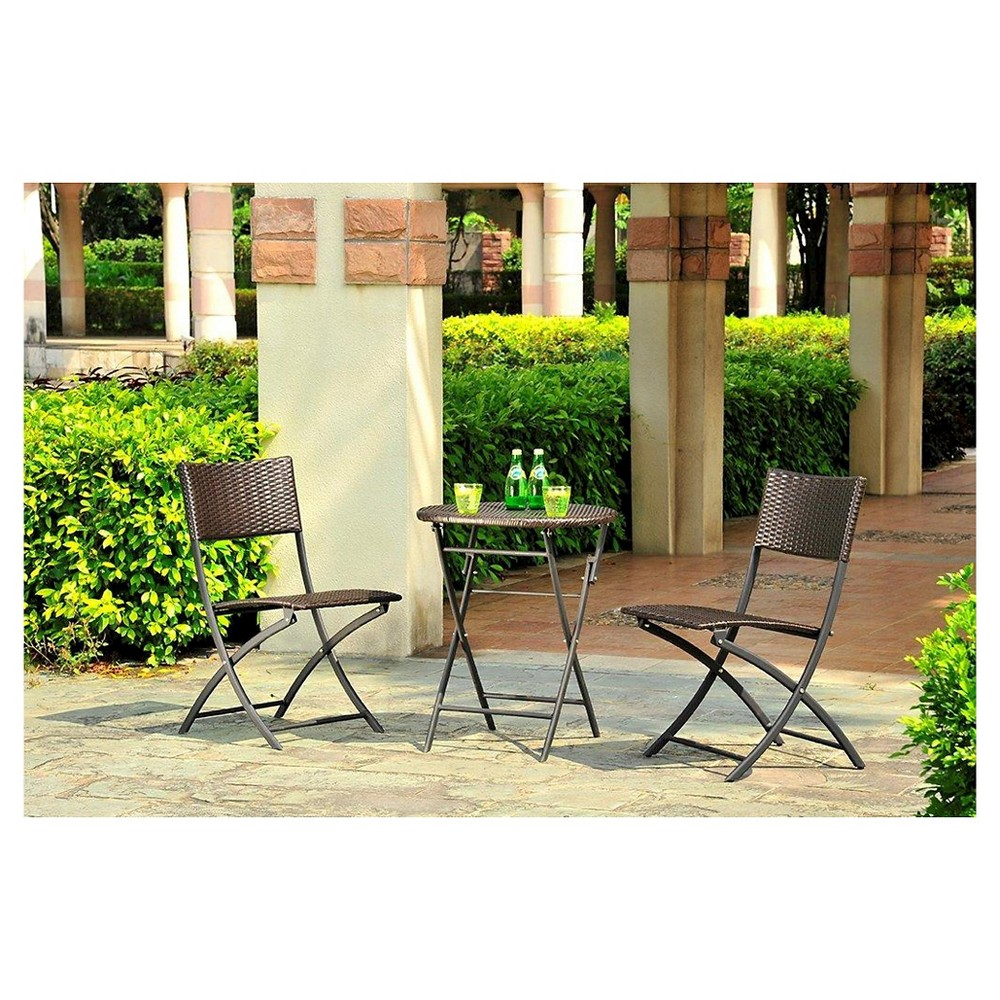 Harrison 3pc All Weather Wicker Folding Patio Bistro Set - Threshold
